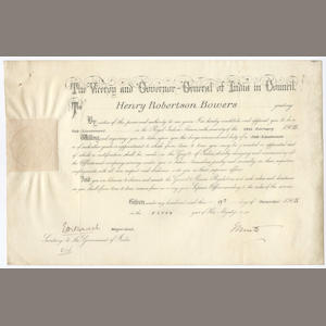 BOWERS (HENRY ROBERTSON) Commission appointing Bowers to position of Sub-Lieutenant in the Royal Indian Marine, 1905