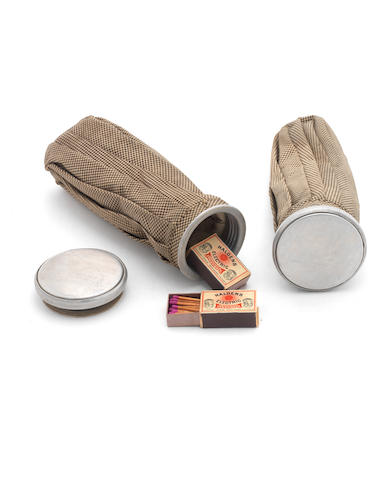 AMUNDSEN (ROALD) A pair of waterproof bags with aluminium screw-lids as supplied for the expedition to the South Pole, together with original matchboxes