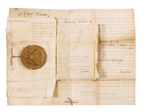 AMERICA – EAST FLORIDA. Grant of 10,000 acres of land in East Florida to James Penman, being the certified copy bearing the Great Seal of the province, 1776