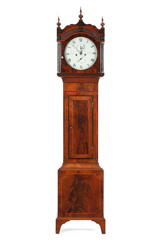 A late 18th century flame mahogany eight-day longcase clock Warry, Bristol