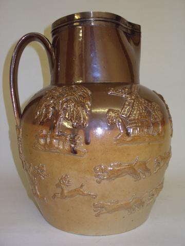 A large silver-mounted stoneware hunting jug