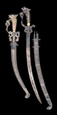 Two Sri Lanka silver mounted swords