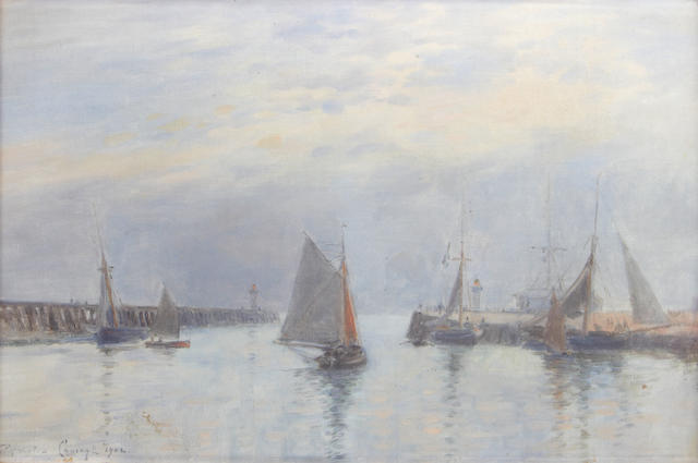 Continental School, 19th Century A busy harbour