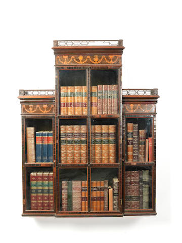 A George III wenge and marquetry wall display cabinet