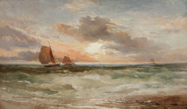 James Webb (1825-1895) Fishing boats off a coast