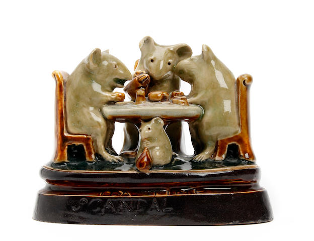 Lambeth A rare George Tinworth Doulton Lambeth stoneware mouse group  'Tea Time Scandal'