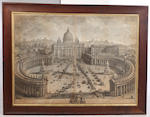 Giuseppe Vasi (Italian, 1710-1782) Alla Santita del Sommo Pontefice.. and two further similar engravings 70 x 98.5cm. (3)