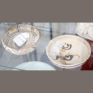 Two slip-painted pottery bowls (2).