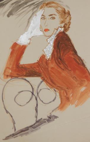 Brian Julian Stonehouse, M.B.E. (1918-1998) Woman in red coat and neckerchief