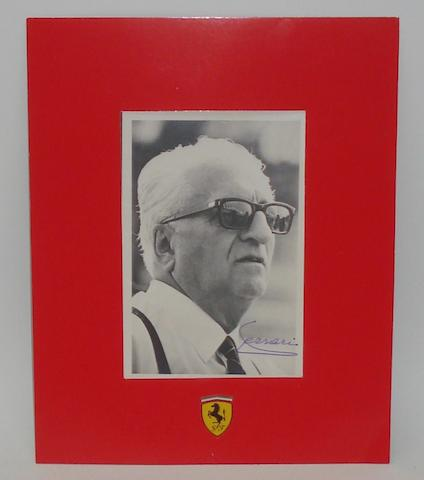 A original signed photograph of Enzo Ferrari