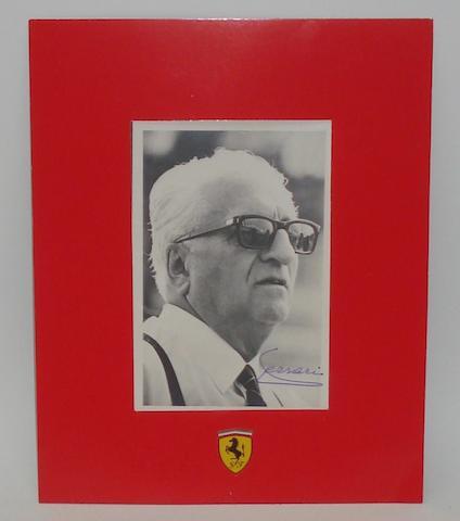 An original signed photograph of Enzo Ferrari,