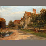 Robert Morley, RBA (British, 1857-1941) Farm bulding and a pond (unframed)