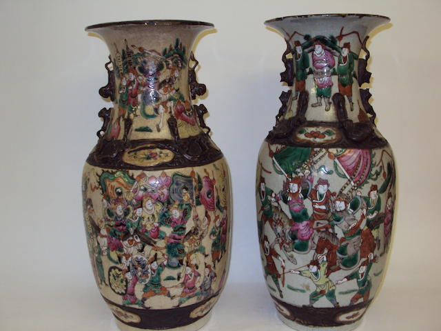 Two Chinese Cantonese crackle-glazed vases