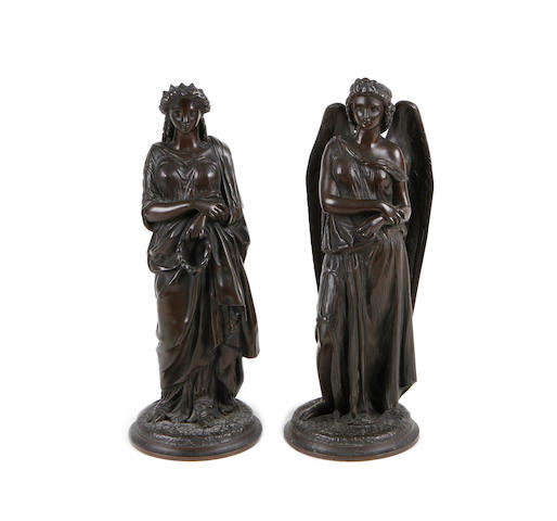 A pair of 19th century French bronze figures