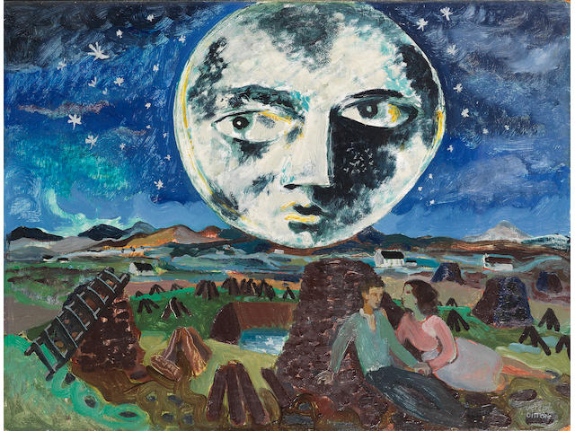 Gerard Dillon (Irish, 1916-1971) The Moon over the Bog 45.5 x 60.8 cm. (17 7/8 x 23 7/8 in.)