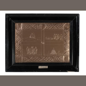 "SCOTT MEMORIAL PLAQUE An embossed and engraved commemorative silver plaque, headed ""Antarctic Expedition"", with four scenes from the ""Terra Nova"" expedition quartered on a central rectangular area (a dog sledge moving across the ice away from the Terra Nova; Scott's polar party preparing to man-haul a sledge; the five man party at the Pole; memorial and burial place of Scott, Wilson and Bowers), with a central ""boss"" of the ship's cat 'Nigger', within a wide border of decorative scroll work bearing the names those who reached the Pole and a polar flag within a frame of laurel leaves, the cornerpieces with medallion portraits of Scott, his wife Kathleen, their son Peter, and another view of the Scott monument"