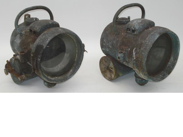 A pair of self-contained acetylene head lamps, circa 1910,
