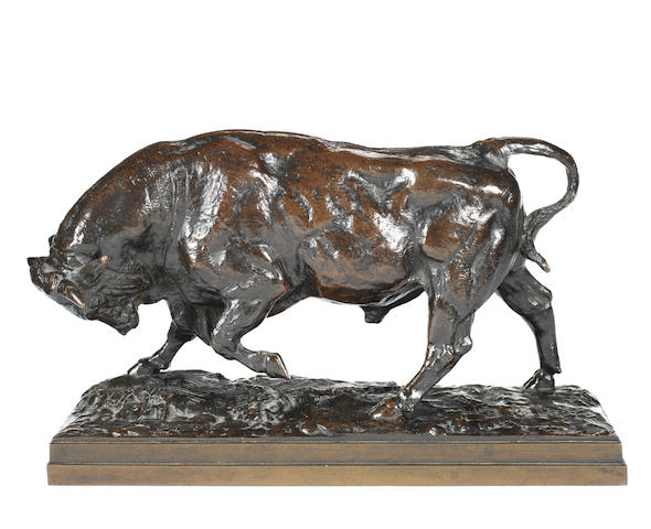 Antoine Louis Barye, (French, 1795-1875) A rare bronze model of a bull Taureau Debout seconde version