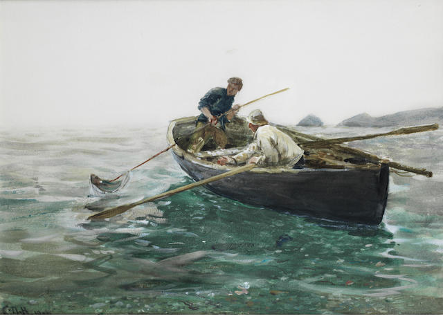 Charles Napier Hemy - Spearing fish - Falmouth - Watercolour