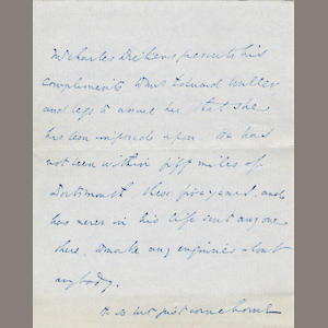 "DICKENS (CHARLES) Autograph letter in the third person (""Mr Charles Dickens""), to Mrs Edward Waller, 1854"