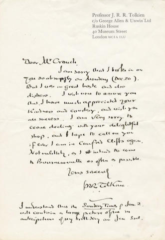 "TOLKIEN (J.R.R.) Autograph letter signed (""J.R.R. Tolkien""), to W.B. Crouch of the Southern Cigar Co., Canford Cliffs, Poole, 1971"