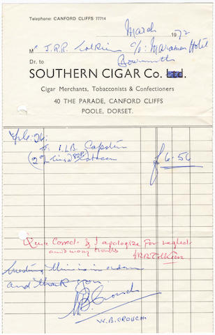 "TOLKIEN (J.R.R.) Autograph rubric signed (""JRRTolkien"") on a bill submitted to him for a pound of Capstan tobacco in"