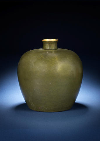 A rare teadust glazed ovoid vase Daoguang mark and of the period, dated by inscription to 1845