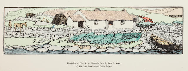 Jack Butler Yeats (Irish, 1871-1957) 'Mountain Farm, No.6' hand coloured print, published by The Cuala Press Limited, Dublin, 9 x 34cm (plate).