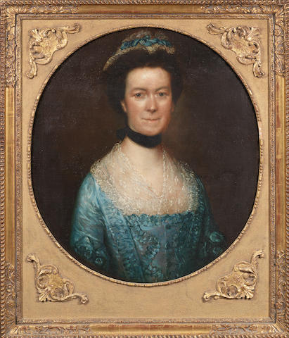 Thomas Gainsborough, R.A. (Sudbury 1727-1788 London) Portrait of Catherine Warneford, neé Claverley, of Warneford Place, half-length, in and blue silk dress,