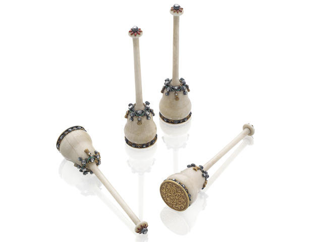 A set of four unusual 19th century decorative bobbins