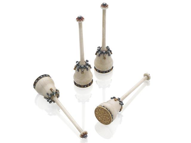 A set of four unusual 19th century decorative bobbins