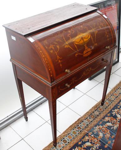 An Edwardian inlaid mahogany cylinder bureau bookcase
