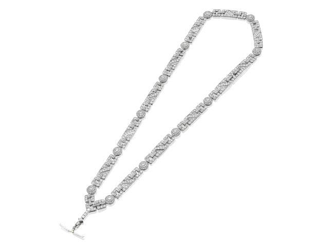 An Art Deco diamond sautoir,
