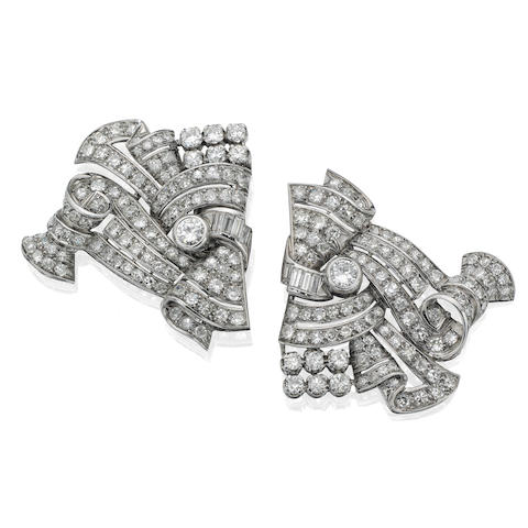 A pair of diamond clip brooches, French,