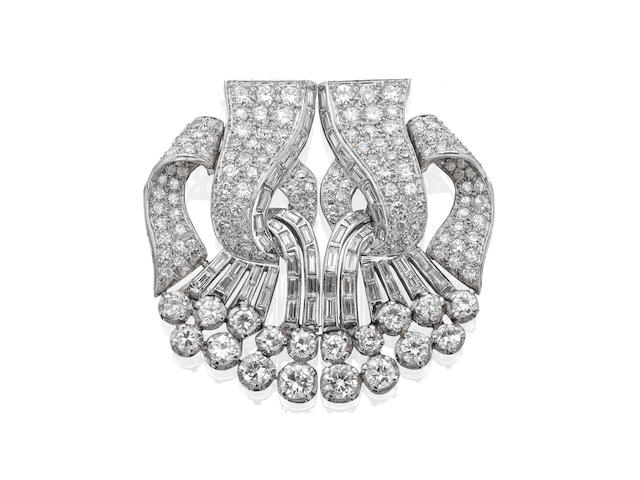 A diamond double-clip brooch, French,