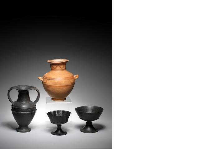 Three etruscan bucchero vessels and a Mycenaean kalpis