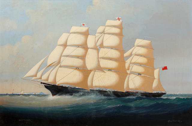 "Anthony Elliott Skuse, 19th Century 'Clipper ship ""Swiftsure"" off Peel Harbour, Isle of Man"