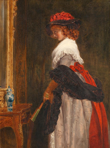 John Callcott Horsley, RA (British, 1817-1903) Lady regarding herself in a pier mirror