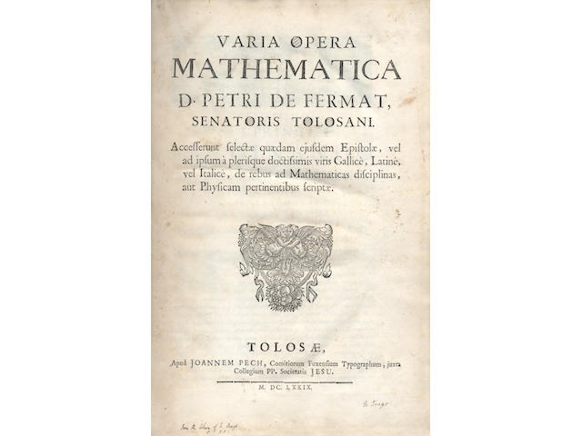 FERMAT (PIERRE DE) Varia opera mathematica, Toulouse, 1679