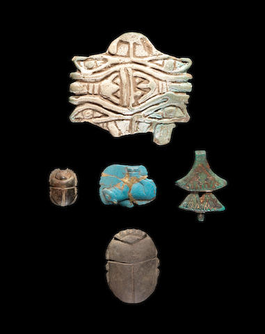 Five Egyptian amulets and scarabs 5