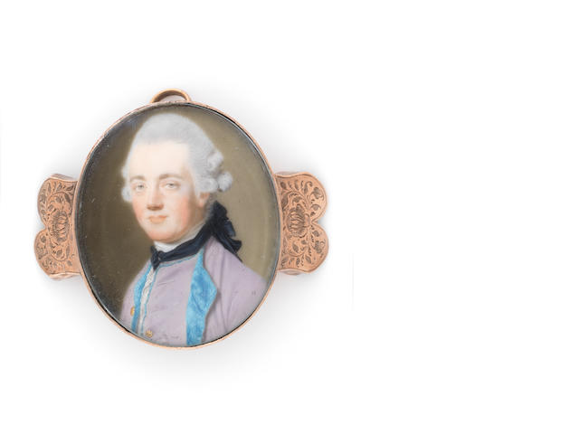 John Smart (British, 1742-1811) A Gentleman, wearing lilac coat and waistcoat lined with turquoise blue fur, white stock and lace cravat, black stock loosely tied, his powdered wig worn en queue and tied with a wide black ribbon bow