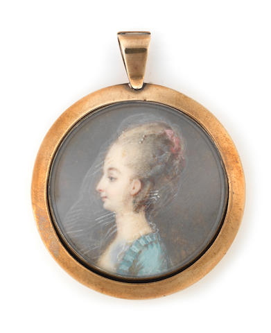 French School, late 18th Century A Lady in profile to the left, wearing cerulaen blue dress with ruched trim, pearl choker, her powdered hair elaborately upswept and dressed with pink ribbon and strands of pearls, her sheer veil falling over her hair and in front of her face