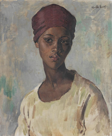 Neville Lewis (South African, 1895-1972) Portrait of a young Malay girl