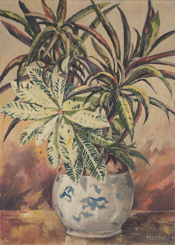 Gabriel Cornelis de Jongh (South African, 1913-2004) Plants in a white vase