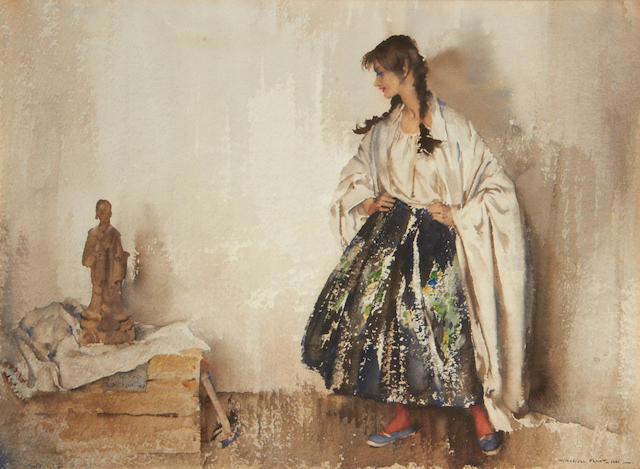 Sir William Russell Flint R.A., P.R.W.S. (British, 1880-1969) The Model and the Chinese Philosopher