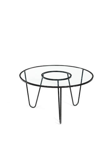 Mathieu Matègot Bellevue Table designed 1956  enamelled metal and glass  Height: 40 cm.                15 3/4 in. Diameter: 40 cm.                15 3/4 in.