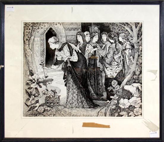 Manner of Eleanor Fortescue-Brickdale Elegegant ladies in a garden