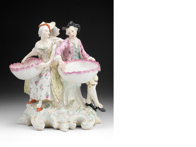 A Derby group of three salts, circa 1780-85 (restoration to corner of base, and shells)