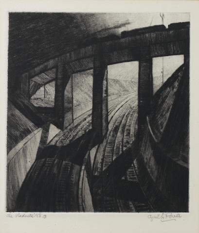 "Cyril Edward Power (British, 1872-1951) The Viaduct Drypoint, 1924, a rich impression, on stout cream wove, with wide margins, signed, titled and inscribed ""No.13"" in pencil, from an edition of unknown size, 210 x 190mm (8 1/4 x 7 1/2in)(PL)"
