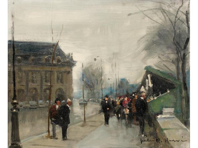 Jules René Hervé (French 1887 - 1981) A pair of Parisian street scenes 22 x 27cm